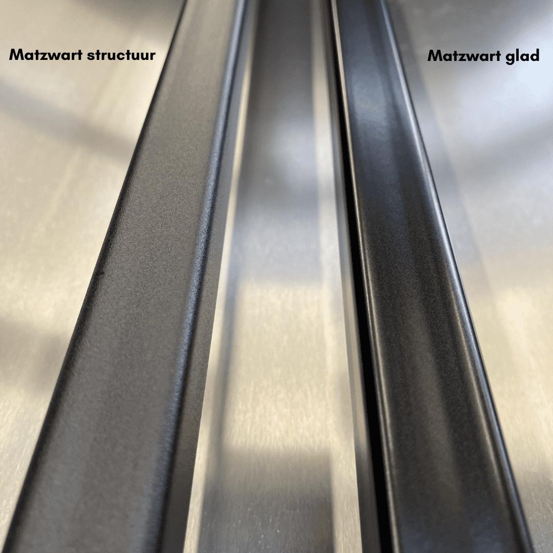 Matzwart glad en structuur staal Eron Staal